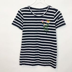 J. Crew Striped Embroidered Collector Tee XS